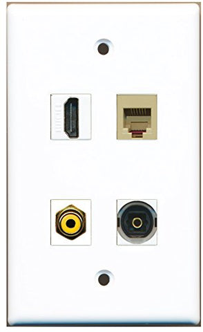 RiteAV - 1 Port HDMI 1 Port RCA Yellow 1 Port Phone RJ11 RJ12 Beige 1 Port Toslink Wall Plate
