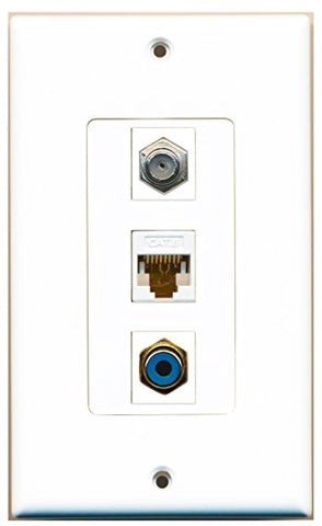RiteAV - 1 Port RCA Blue and 1 Port Coax Cable TV- F-Type and 1 Port Cat6 Ethernet White Decorative Wall Plate Decorative