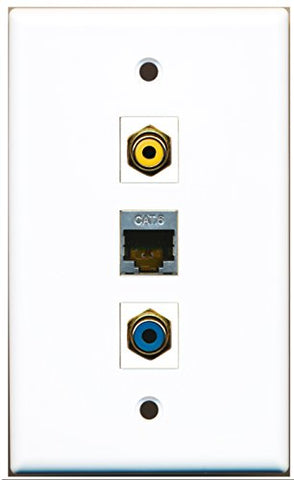 RiteAV - 1 Port RCA Yellow and 1 Port RCA Blue and 1 Port Shielded Cat6 Ethernet Wall Plate