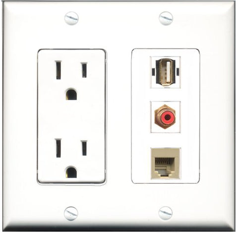 RiteAV - 15 Amp Power Outlet 1 Port RCA Red 1 Port USB A-A 1 Port Phone Beige Decorative Wall Plate