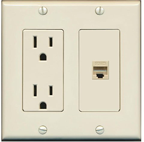 RiteAV - 15 Amp Power Outlet and 1 Port Cat5e Ethernet Decorative Type Wall Plate - Light Almond