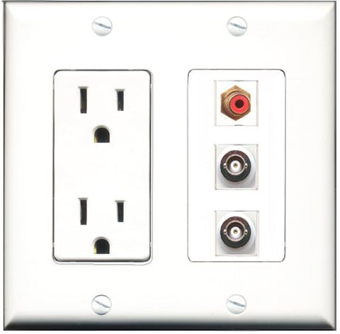 RiteAV - 15 Amp Power Outlet 1 Port RCA Red 2 Port BNC Decorative Wall Plate