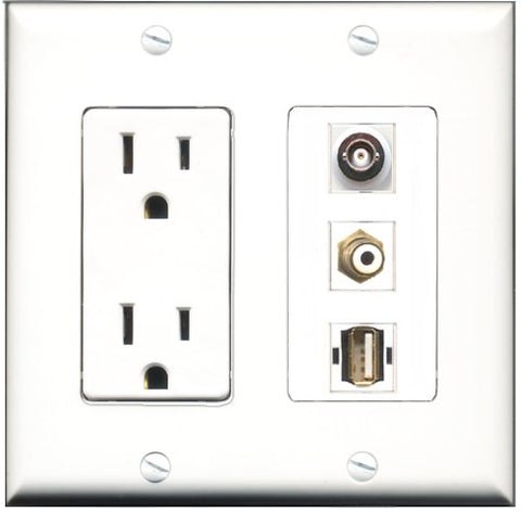 RiteAV - 15 Amp Power Outlet 1 Port RCA White 1 Port USB A-A 1 Port BNC Decorative Wall Plate