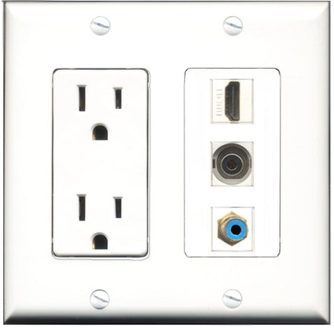 RiteAV - 15 Amp Power Outlet 1 Port HDMI 1 Port RCA Blue 1 Port 3.5mm Decorative Wall Plate