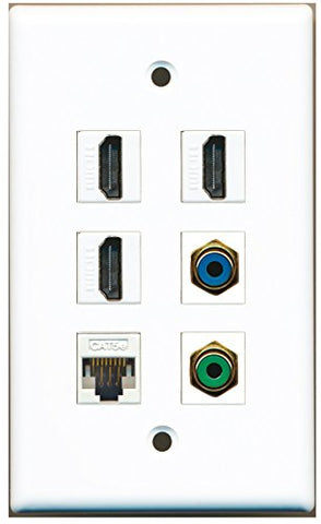 RiteAV - 3 HDMI 1 Port RCA Green 1 Port RCA Blue 1 Port Cat5e Ethernet White Wall Plate