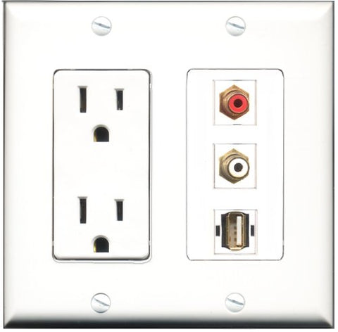 RiteAV - 15 Amp Power Outlet 1 Port RCA Red 1 Port RCA White 1 Port USB A-A Decorative Wall Plate