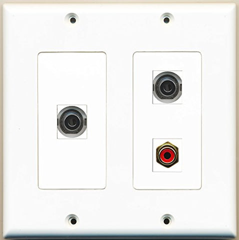 RiteAV - 1 Port RCA Red 2 Port 3.5mm - 2 Gang Wall Plate