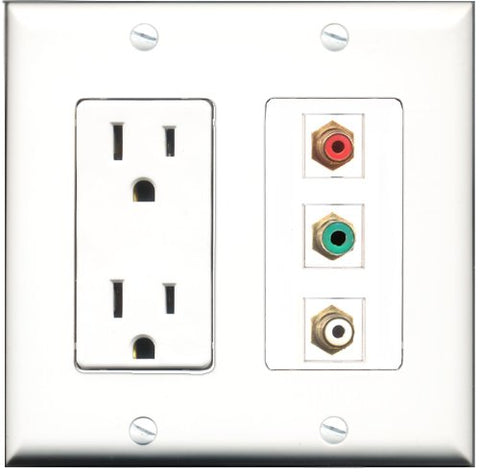 RiteAV - 15 Amp Power Outlet 1 Port RCA Red 1 Port RCA White 1 Port RCA Green Decorative Wall Plate
