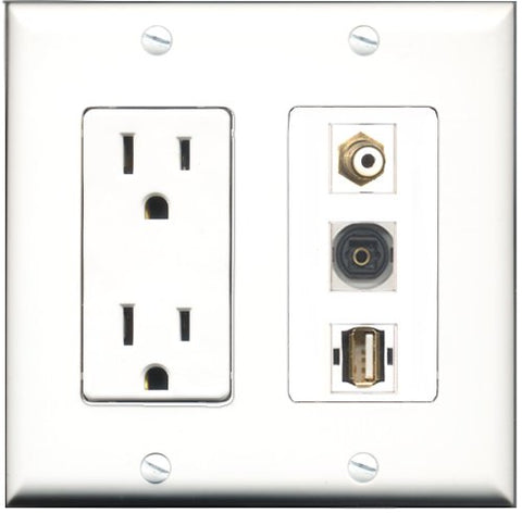 RiteAV - 15 Amp Power Outlet 1 Port RCA White 1 Port USB A-A 1 Port Toslink Decorative Wall Plate