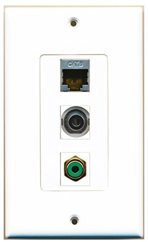 RiteAV - 1 Port RCA Green and 1 Port Shielded Cat6 Ethernet and 1 Port 3.5mm Decorative Wall Plate Decorative