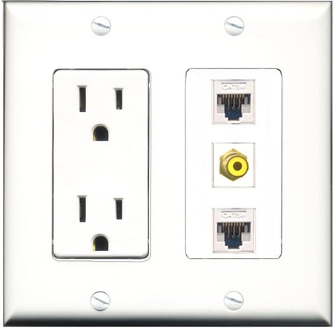 RiteAV - 15 Amp Power Outlet 1 Port RCA Yellow 2 Port Cat5e Ethernet White Decorative Wall Plate