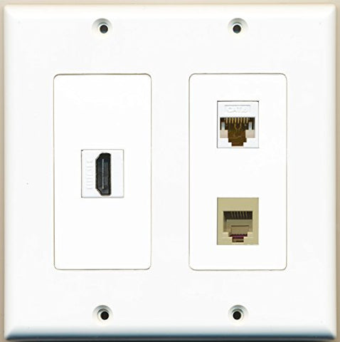 RiteAV - 1 Port HDMI 1 Port Phone RJ11 RJ12 Beige 1 Port Cat6 Ethernet White - 2 Gang Wall Plate