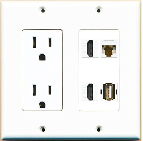 RiteAV (2 Gang Decorative) 15A Power Outlet 2 HDMI Cat6 White USB Wall Plate