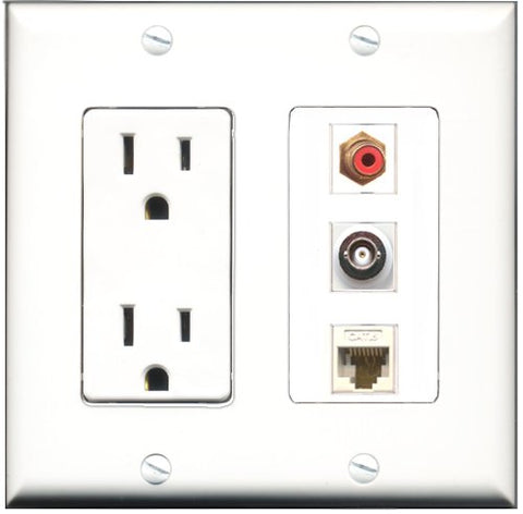 RiteAV - 15 Amp Power Outlet 1 Port RCA Red 1 Port BNC 1 Port Cat6 Ethernet Ethernet White Decorative Wall Plate