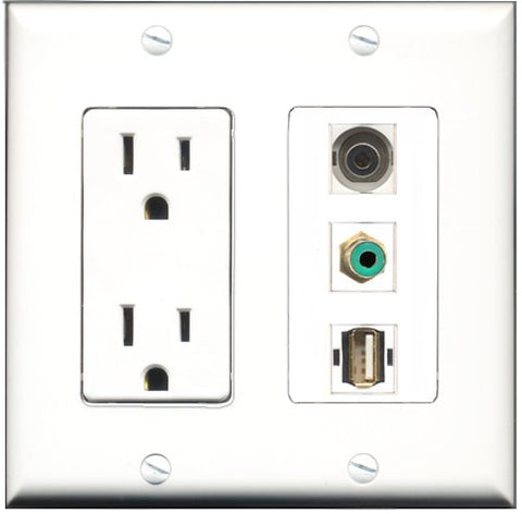 RiteAV - 15 Amp Power Outlet 1 Port RCA Green 1 Port USB A-A 1 Port 3.5mm Decorative Wall Plate