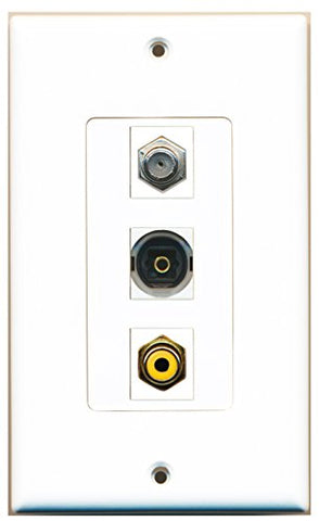 RiteAV - 1 Port RCA Yellow and 1 Port Coax Cable TV- F-Type and 1 Port Toslink Decorative Wall Plate Decorative