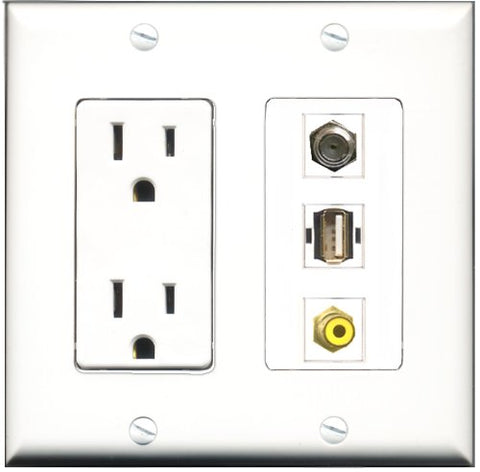 RiteAV - 15 Amp Power Outlet 1 Port RCA Yellow 1 Port Coax 1 Port USB A-A Decorative Wall Plate