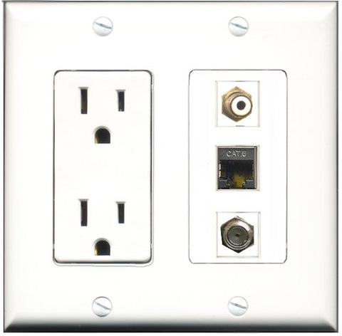 RiteAV - 15 Amp Power Outlet 1 Port RCA White 1 Port Coax 1 Port Shielded Cat6 Ethernet Ethernet Decorative Wall Plate