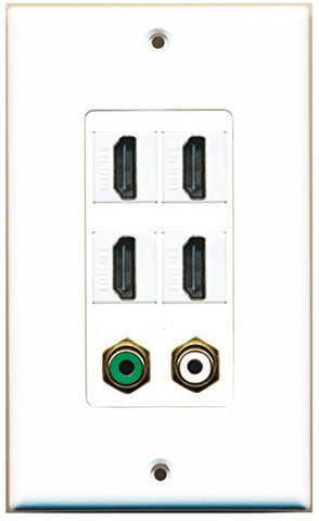 RiteAV - 4 Port HDMI 1 RCA White 1 RCA Green Wall Plate Decorative