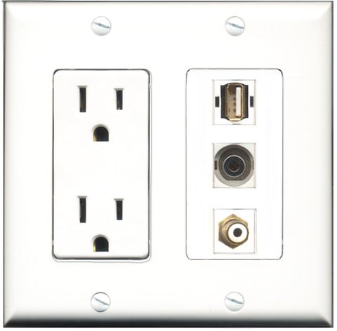 RiteAV - 15 Amp Power Outlet 1 Port RCA White 1 Port USB A-A 1 Port 3.5mm Decorative Wall Plate