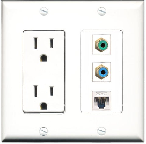 RiteAV - 15 Amp Power Outlet 1 Port RCA Green 1 Port RCA Blue 1 Port Cat5e Ethernet White Decorative Wall Plate