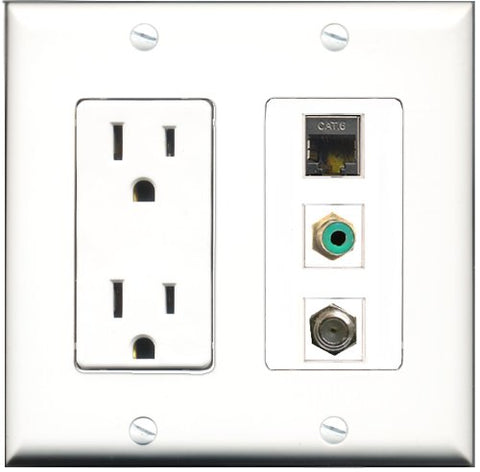 RiteAV - 15 Amp Power Outlet 1 Port RCA Green 1 Port Coax 1 Port Shielded Cat6 Ethernet Ethernet Decorative Wall Plate