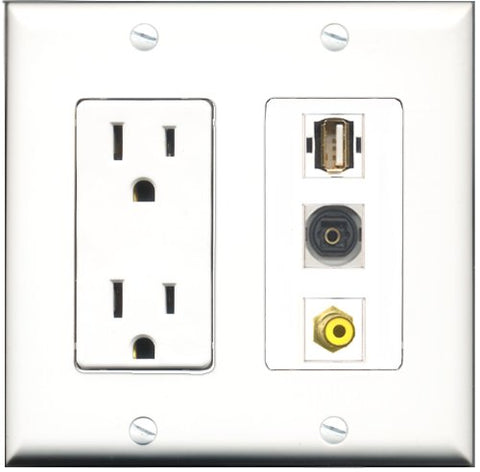 RiteAV - 15 Amp Power Outlet 1 Port RCA Yellow 1 Port USB A-A 1 Port Toslink Decorative Wall Plate