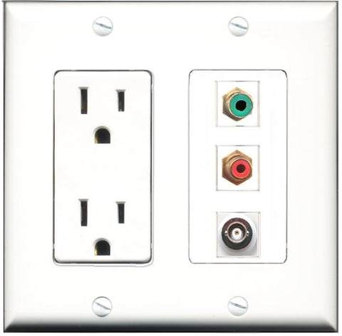 RiteAV - 15 Amp Power Outlet 1 Port RCA Red 1 Port RCA Green 1 Port BNC Decorative Wall Plate