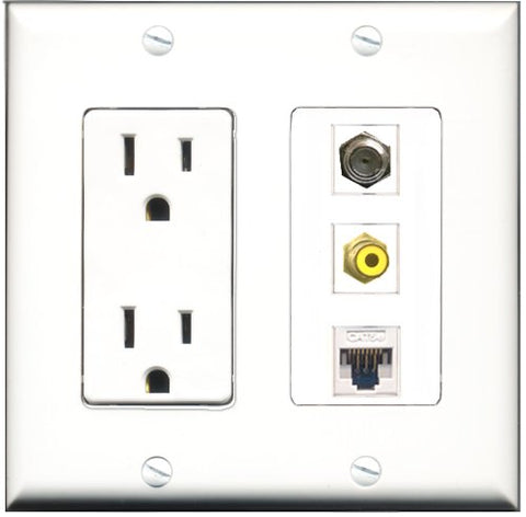 RiteAV - 15 Amp Power Outlet 1 Port RCA Yellow 1 Port Coax 1 Port Cat5e Ethernet White Decorative Wall Plate