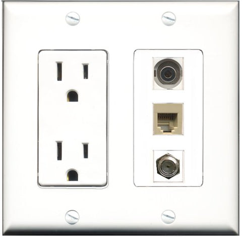 RiteAV - 15 Amp Power Outlet 1 Port Coax 1 Port Phone Beige 1 Port 3.5mm Decorative Wall Plate