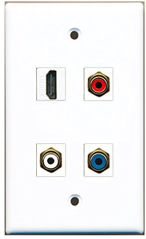 RiteAV - 1 Port HDMI 1 Port RCA Red 1 Port RCA White 1 Port RCA Blue Wall Plate
