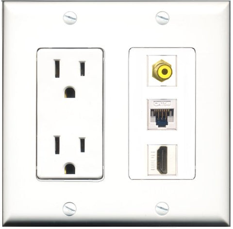 RiteAV - 15 Amp Power Outlet 1 Port HDMI 1 Port RCA Yellow 1 Port Cat5e Ethernet White Decorative Wall Plate