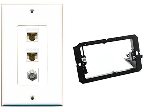 RiteAV - Mounting Bracket and (1 Gang Decorative) Coax 2 Cat6 Wall Plate White