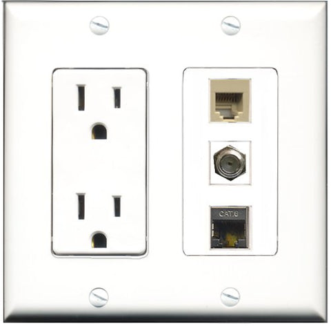 RiteAV - 15 Amp Power Outlet 1 Port Coax 1 Port Phone Beige 1 Port Shielded Cat6 Ethernet Ethernet Decorative Wall Plate