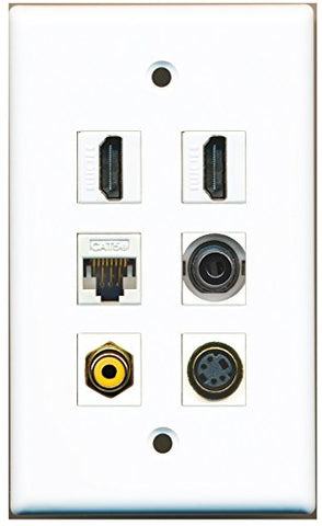 RiteAV - 2 HDMI 1 Port RCA Yellow 1 Port S-Video 1 Port 3.5mm 1 Port Cat5e Ethernet White Wall Plate