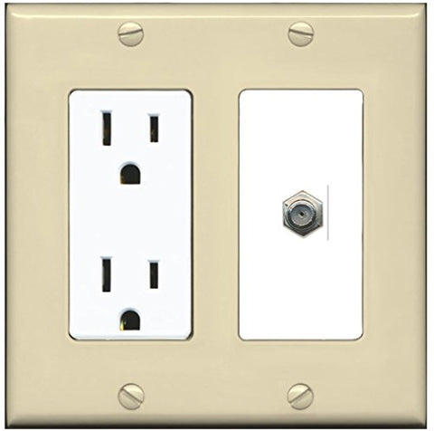 RiteAV - 15 Amp Power Outlet and 1 Port Coax Cable TV- F-Type Decorative Type Wall Plate - Ivory/White