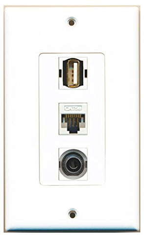RiteAV - 1 Port USB A-A and 1 Port 3.5mm and 1 Port Cat5e Ethernet White Decorative Wall Plate