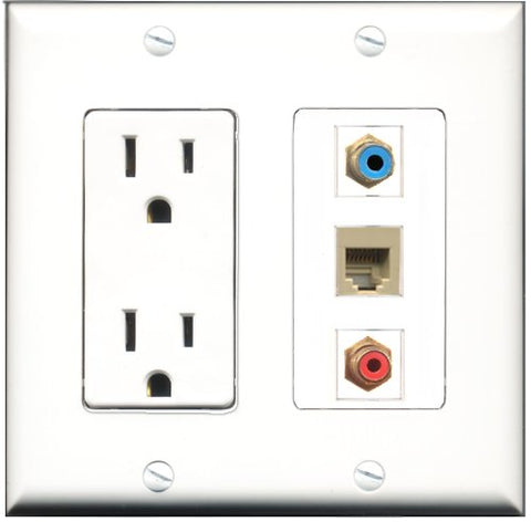 RiteAV - 15 Amp Power Outlet 1 Port RCA Red 1 Port RCA Blue 1 Port Phone Beige Decorative Wall Plate