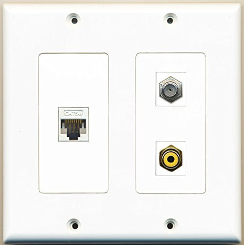 RiteAV - 1 Port RCA Yellow 1 Port Coax Cable TV- F-Type 1 Port Cat5e Ethernet White - 2 Gang Wall Plate