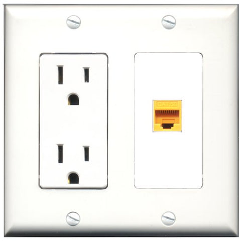 RiteAV - 15 Amp Power Outlet and 1 Port Cat5e Ethernet Yellow Decorative Type Wall Plate White