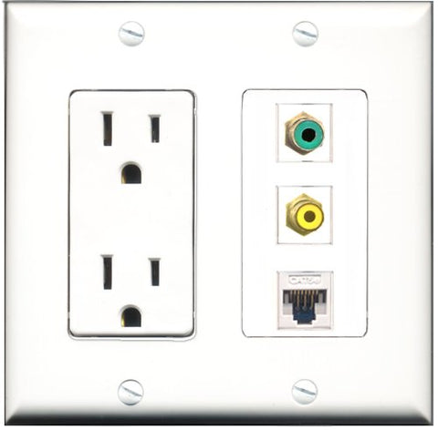 RiteAV - 15 Amp Power Outlet 1 Port RCA Yellow 1 Port RCA Green 1 Port Cat5e Ethernet White Decorative Wall Plate