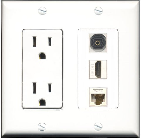 RiteAV - 15 Amp Power Outlet 1 Port HDMI 1 Port Toslink 1 Port Cat6 Ethernet Ethernet White Decorative Wall Plate