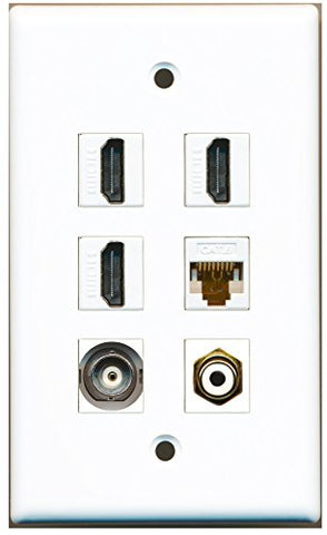 RiteAV - 3 HDMI 1 Port RCA White 1 Port BNC 1 Port Cat6 Ethernet White Wall Plate