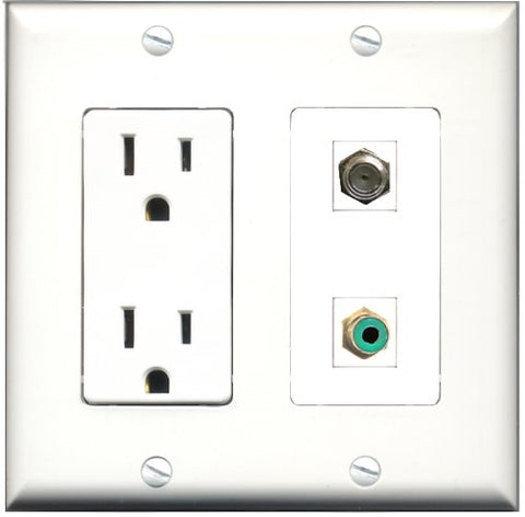 RiteAV - 15 Amp Power Outlet and 1 Port RCA Green and 1 Port Coax Cable TV- F-Type Decorative Type Wall Plate White