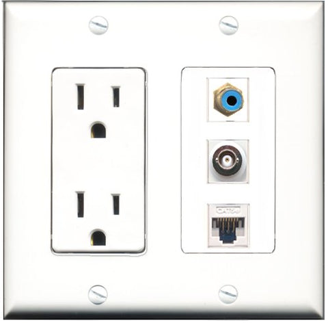 RiteAV - 15 Amp Power Outlet 1 Port RCA Blue 1 Port BNC 1 Port Cat5e Ethernet White Decorative Wall Plate