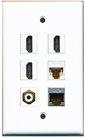 RiteAV - 3 HDMI 1 Port RCA White 1 Port Shielded Cat6 Ethernet 1 Port Cat6 Ethernet White Wall Plate