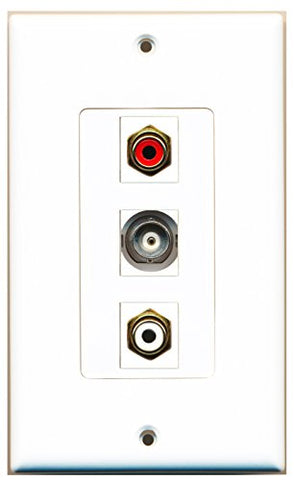 RiteAV - 1 Port RCA Red and 1 Port RCA White and 1 Port BNC Decorative Wall Plate Decorative