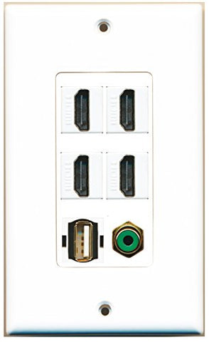 RiteAV - 4 Port HDMI 1 RCA Green 1 USB A-A Wall Plate Decorative