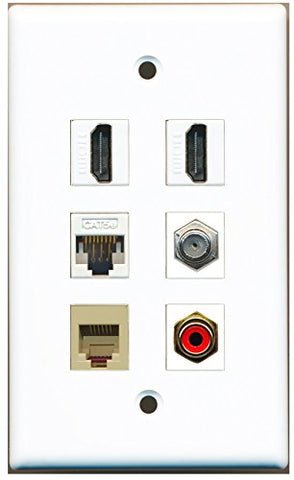 RiteAV - 2 HDMI 1 Port RCA Red 1 Port Coax Cable TV- F-Type 1 Port Phone RJ11 RJ12 Beige 1 Port Cat5e Ethernet White Wall Plate