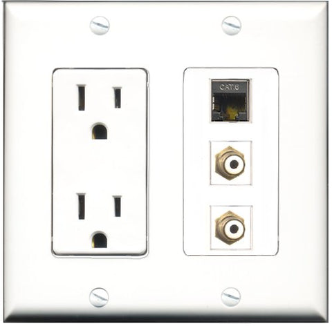 RiteAV - 15 Amp Power Outlet 2 Port RCA White 1 Port Shielded Cat6 Ethernet Ethernet Decorative Wall Plate